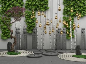 中式藤蔓景觀樹石獅雕塑金葫蘆組合3D模型【ID:127750897】