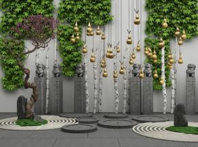 中式藤蔓景观树石狮雕塑金葫芦组合3D模型【ID:127750897】