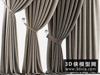 现代窗帘国外3D模型【ID:329580814】