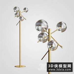 现代金属落地灯国外3D模型【ID:929324094】