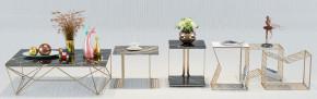 现代金属茶几角几花瓶摆件组合3D模型【ID:927828698】