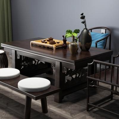中式茶桌椅茶具組合3D模型【ID:327790673】