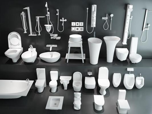 现代洁具马桶洗手盆浴缸花洒龙头卫生间组合3D模型【ID:127844716】