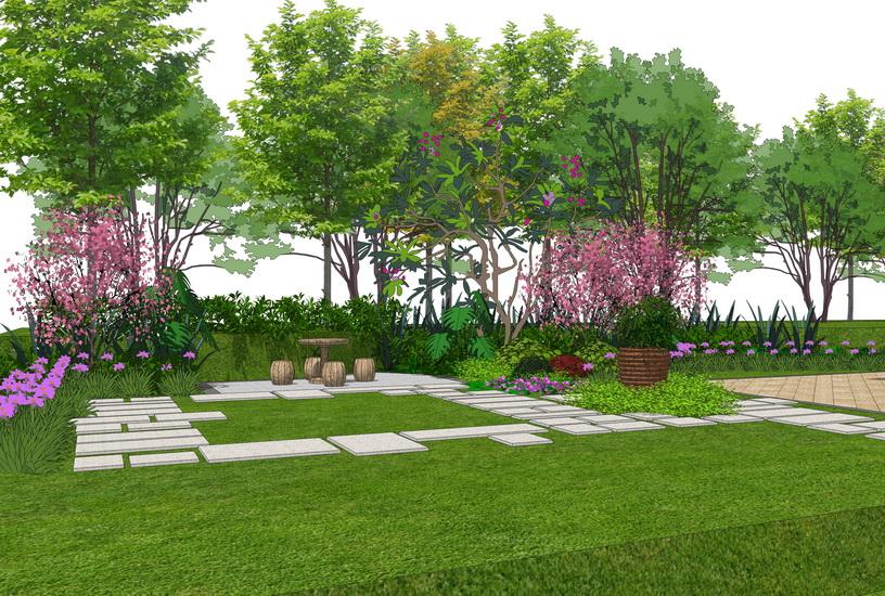 现代别墅庭院景观SU模型【ID:536426993】
