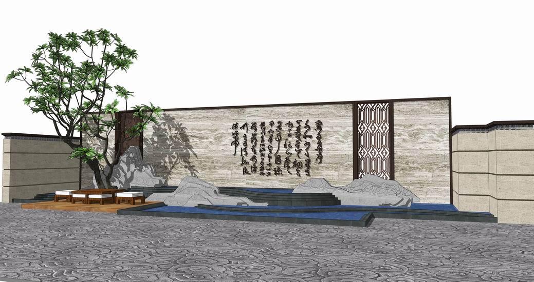 中式山水景墻SU模型【ID:736427000】