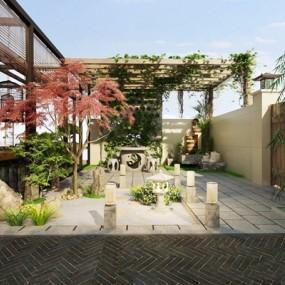 新中式庭院3D模型【ID:828324407】