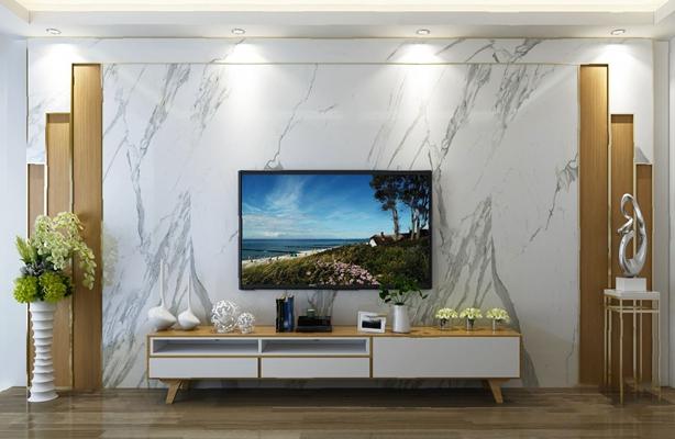 现代电视墙3D模型【ID:126232899】