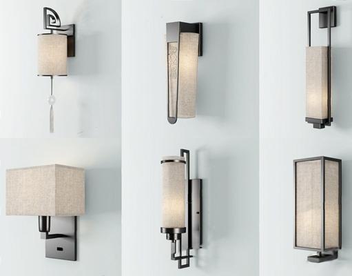 新中式壁燈3D模型【ID:528009987】