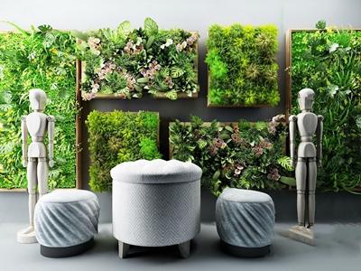 现代绿植背景墙3D模型【ID:131393170】
