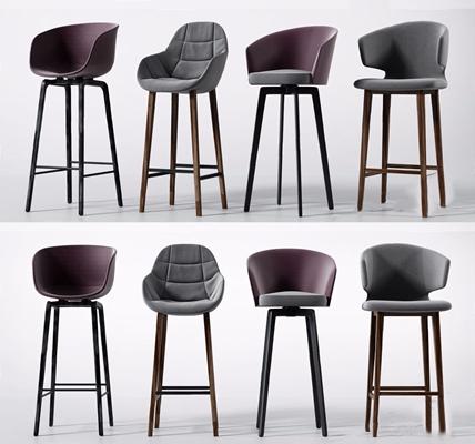 现代吧椅组合3D模型【ID:328243107】