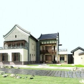 新中式别墅3D模型【ID:526235648】