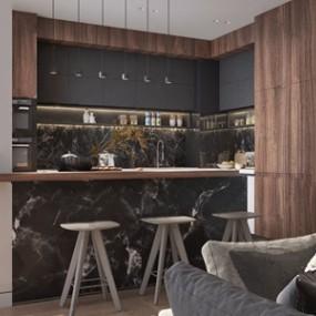 现代敞开式厨房 3D模型【ID:541359358】
