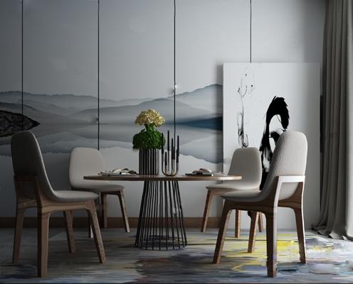 餐桌椅组合3D模型【ID:120024883】
