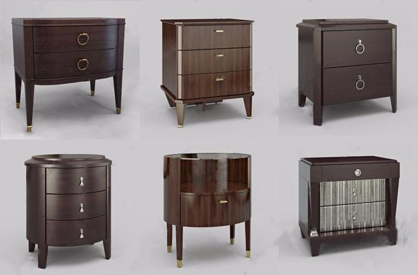 新中式床頭柜組合3D模型【ID:928354610】