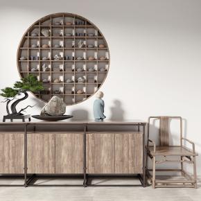 新中式端景柜单椅盆景装饰架组合3D模型【ID:927826169】