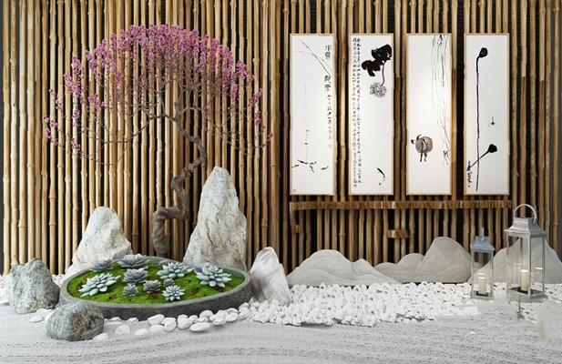 中式景观小品3D模型【ID:624894086】