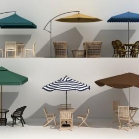现代户外遮阳伞桌椅组合3D模型【ID:327793333】