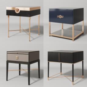 现代实木床头柜组合3D模型【ID:927824624】