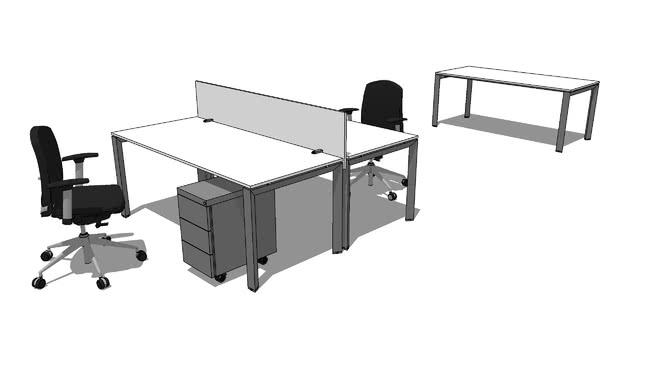 辦公桌組合002SU模型【ID:939950629】