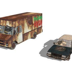 破旧废车SU模型【ID:836431108】
