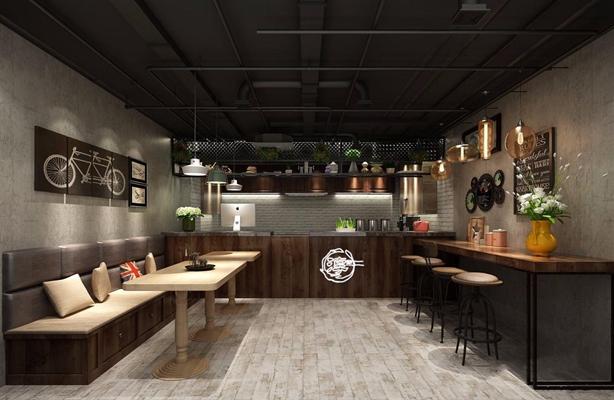 工業風奶茶店3D模型【ID:328030873】