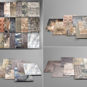 简欧图案地毯组合 3D模型【ID:241472651】