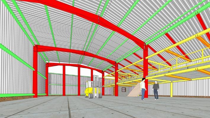 鋼結構框架工業廠房SU模型【ID:846369067】