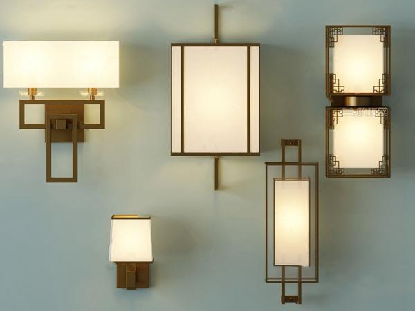 新中式壁燈組合3D模型【ID:747856938】