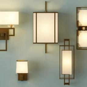 新中式壁灯组合3d模型【ID:747856938】
