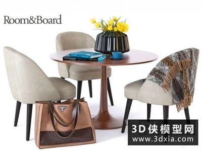 現代洽談桌椅組合國外3D模型【ID:729347769】