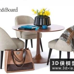 现代洽谈桌椅组合国外3D模型【ID:729347769】