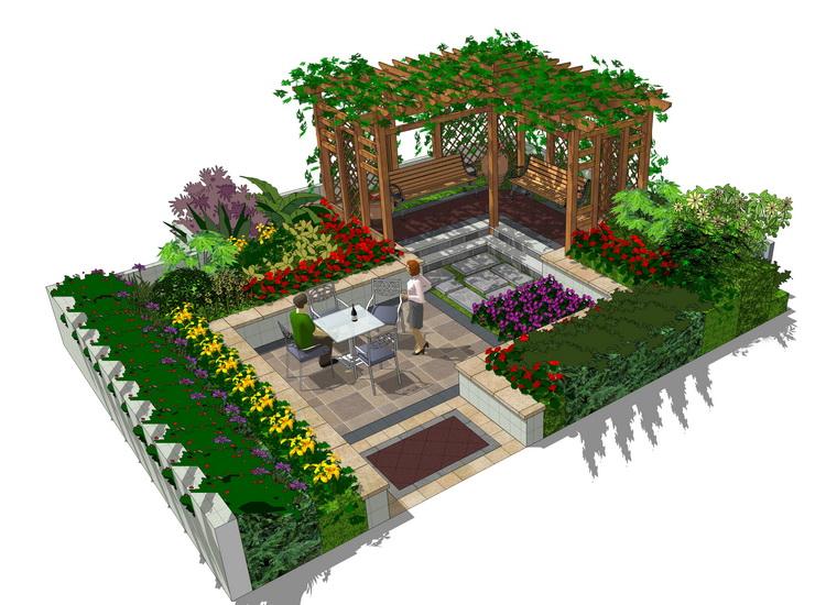私家花园SU模型【ID:536431944】