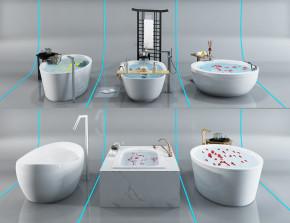 现代浴缸组合3D模型【ID:227780027】