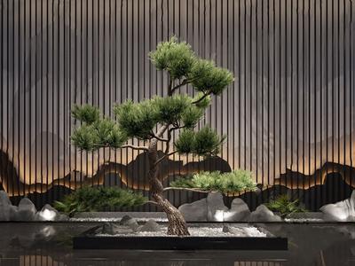 中式迎客松盆景3D模型【ID:234507808】