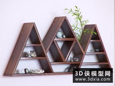 首飾裝飾櫃組合國外3D模型【ID:929391619】