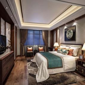 新中式卧室3D模型【ID:427966343】