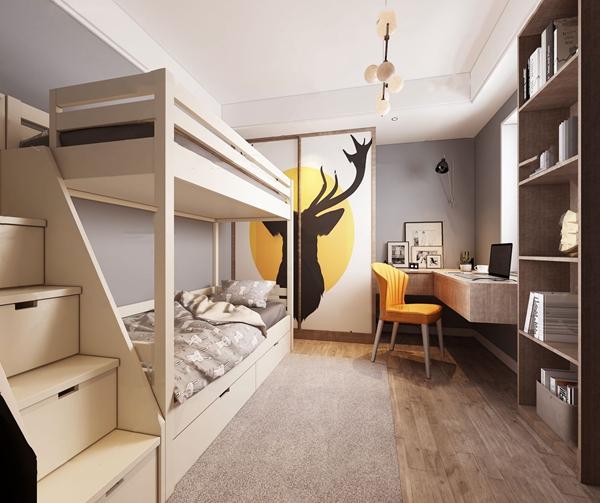 北欧上下铺小孩房3d模型