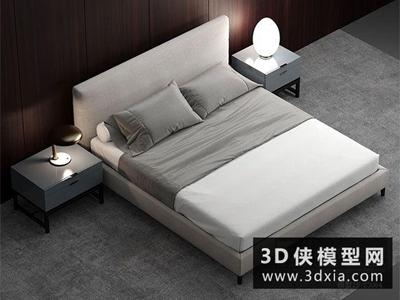 現代風格床國外3D模型【ID:729397933】