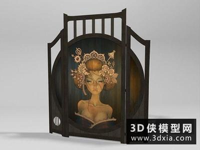 日式屏風國外3D模型【ID:929721588】