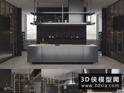 现代风格厨柜国外3D模型【ID:829472042】