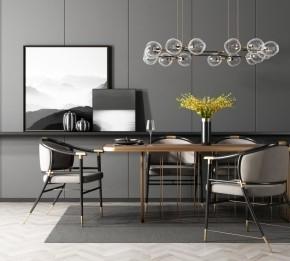 現代餐桌椅裝飾畫吊燈組合3D模型【ID:327786409】