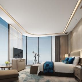 新中式酒店客房3d模型【ID:428444622】