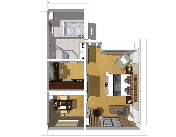 复式别墅2F主卧室室内设计SU模型【ID:236433383】