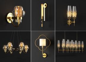 新中式金属玻璃壁灯吊灯组合3D模型【ID:527798865】