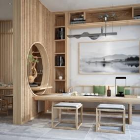 新中式禅意餐厅茶室3d模型【ID:328253706】