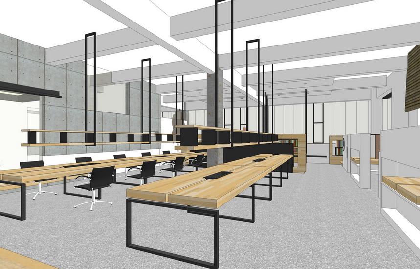 现代图书馆室内设计SU模型【ID:136434269】