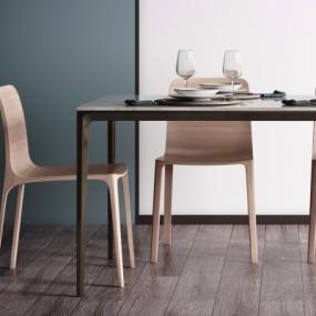 北欧实木餐桌椅3D模型【ID:328437445】