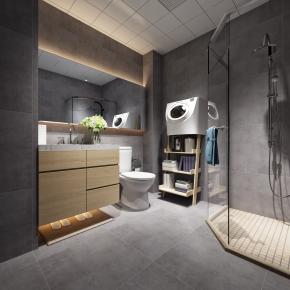 北歐浴室衛生間3D模型【ID:927821593】