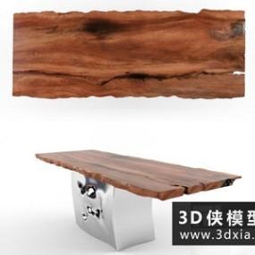 现代原木餐桌国外3D模型【ID:729570783】