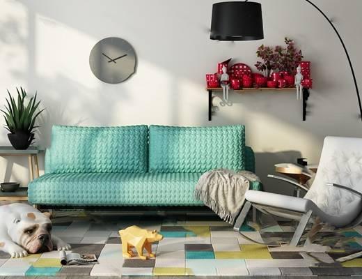 现代双人沙发3D模型下载【ID:919401781】